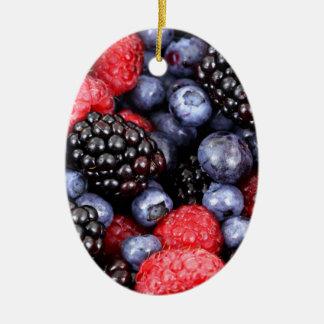 Very Berry Lover Blueberry Strawberry Blackberry Ceramic Oval Ornament