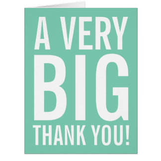 Very big oversized mint Thank You greeting cards