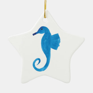 Very Blue Sea Horse Ceramic Ornament