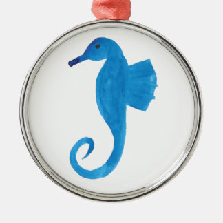 Very Blue Sea Horse Metal Ornament