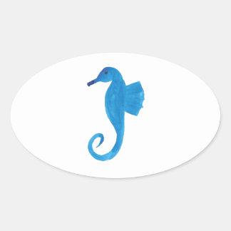 Very Blue Sea Horse Oval Sticker