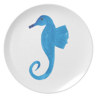 Very Blue Sea Horse Plate