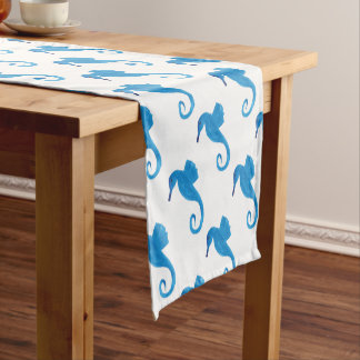 Very Blue Sea Horse Short Table Runner