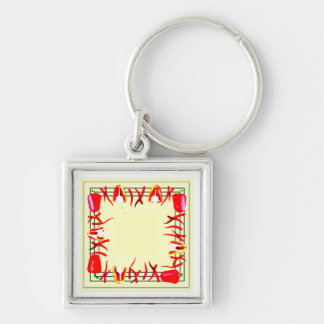 Very bright red and  light yellow design peppers Silver-Colored square keychain