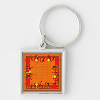 Very bright red and orange design peppers keychain