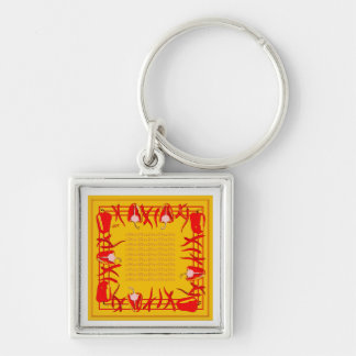 Very bright red and  yellow design peppers keychain