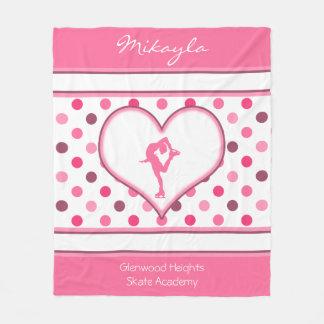 Very Cherry Polka-Dots Lots of Pink Figure Skater Fleece Blanket