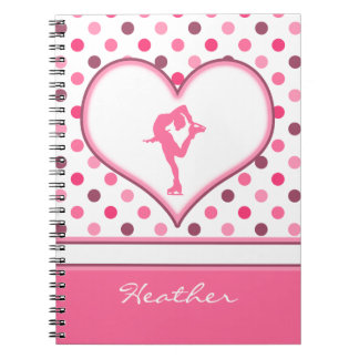 Very Cherry Polka-Dots Lots of Pink Figure Skater Note Book