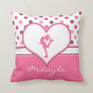 Very Cherry Polka-Dots Lots of Pink Figure Skater Throw Pillow