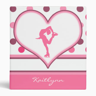Very Cherry Polka-Dots Lots of Pink Figure Skater Vinyl Binder