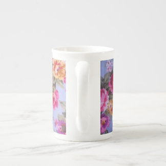 Very colorful flowers bone china mug