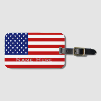 Very Cool American Flag With Monogram Luggage Tag