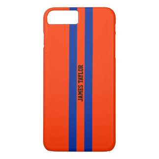 Very Cool Blue and Orange Racing Stripes Monogram iPhone 7 Plus Case
