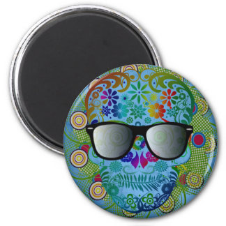 Very cool colourful skull with glasses magnet
