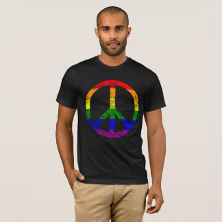 Very Cool Distressed Rainbow Flag Peace Sign T-Shirt