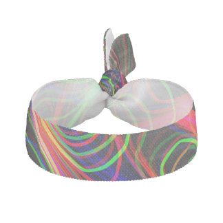 VERY COOL Neon Multicolored Curved Lines Hair Tie
