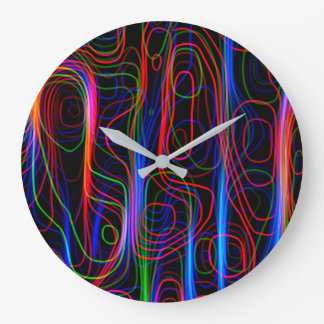 VERY COOL Neon Multicolored Curved Lines Large Clock