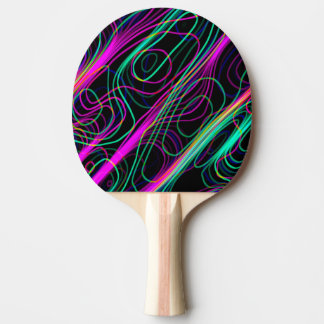 VERY COOL Neon Multicolored Curvy Lines Ping Pong Paddle