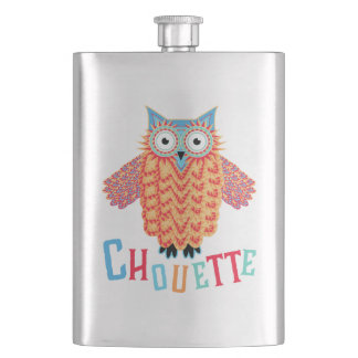 Very Cool Owl French Pun Hip Flask