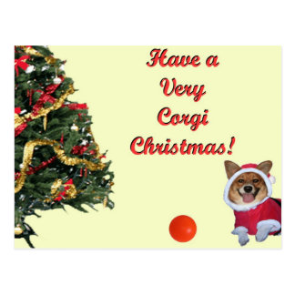 Very Corgi Christmas-Mercy Yellow Postcard