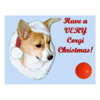 Very Corgi Christmas Pip Postcard-Blue Postcard