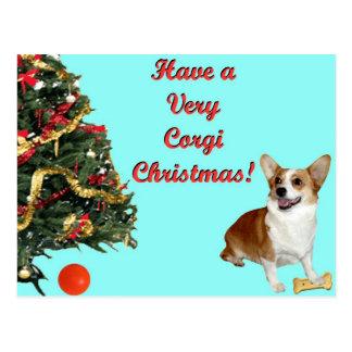 Very Corgi Christmas-SmilingDott Turquoise Postcar Postcard