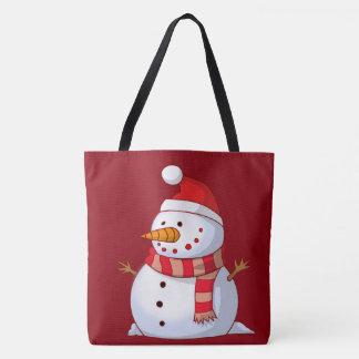 Very Cute Cartoon Snowman in Santa Hat with Scarf Tote Bag