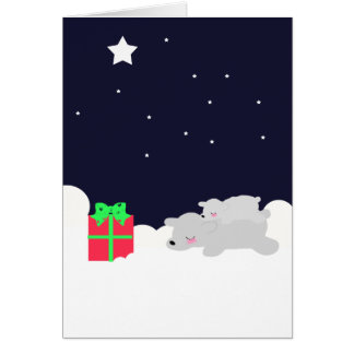 VERY CUTE Christmas Card Polar bears and stars