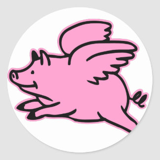 Very Cute Flying Pink Pig Round Sticker
