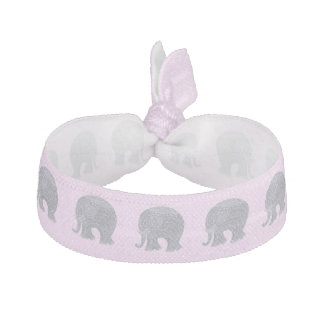 Very cute gray doodle elephant on pink hair tie
