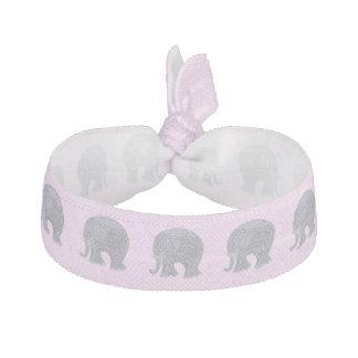 Very cute grey doodle elephant on pink elastic hair ties
