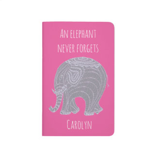 Very cute grey doodle elephant - personalised journals