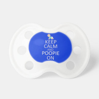 Very Cute KEEP CALM and POOPIE ON blue Baby Pacifiers