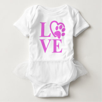 Very Cute Love Pet Heart and Paw Print Baby Bodysuit