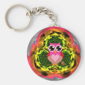 Very Cute Owl Heart Button Keychain