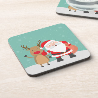 Very Cute Santa Claus and Reindeer | Coaster