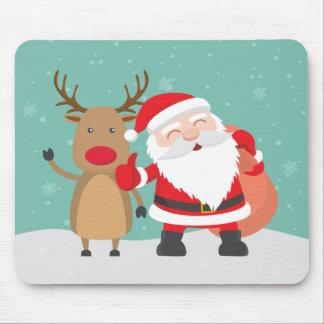 Very Cute Santa Claus and Reindeer | Mousepad