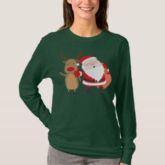 Very Cute Santa Claus and Reindeer | Sleeve Shirt