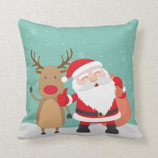 Very Cute Santa Claus and Reindeer | Throw Pillow