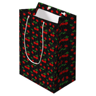 Very Dotty Cherry Gift Bag in Black