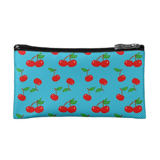 Very Dotty Cherry in Blue Cosmetic Bag