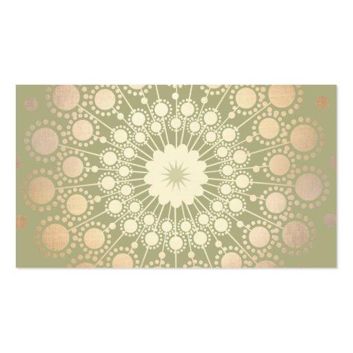 Very Elegant Shiny Gold Ornate Circle Motif Green Business Cards