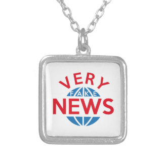 Very Fake News Silver Plated Necklace