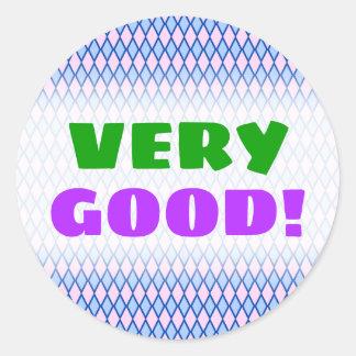 """VERY GOOD!"" + Blue and Pink Diamond Shape Pattern Classic Round Sticker"