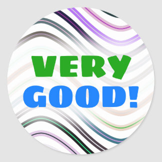 """VERY GOOD!"" + Colorful Wavy Lines Pattern Sticker"