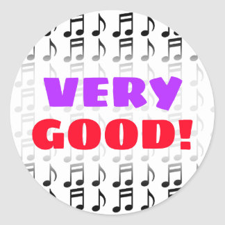 """VERY GOOD!"" + Grid of Musical Notes Sticker"