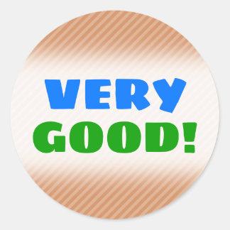 """VERY GOOD!"" + Light Brown & Tan Stripes Pattern Classic Round Sticker"