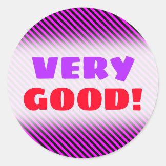 VERY GOOD!; Simple Fuchsia & Black Stripes Pattern Classic Round Sticker