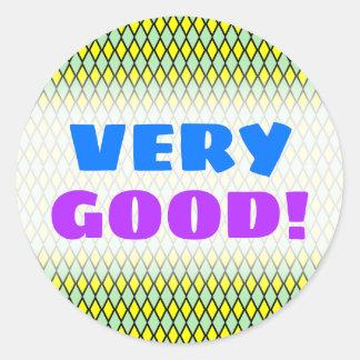 VERY GOOD!; Yellow and Green Diamond Shape Pattern Classic Round Sticker