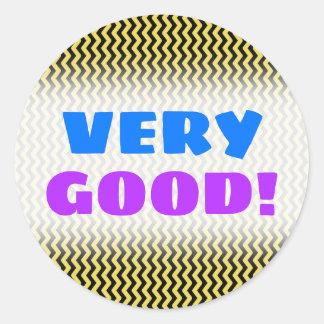 """VERY GOOD!"" + Yellow & Black Wavy Line Pattern Classic Round Sticker"